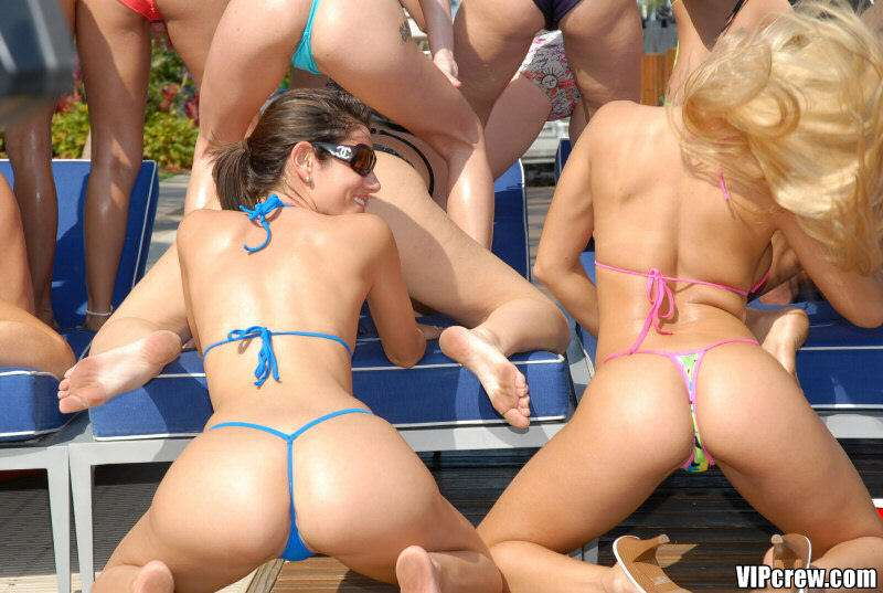 wild bikini pool party